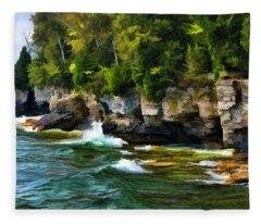 Door County Cave Point Cliffs Fleece Blanket