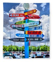 Door County Directional Sign In Egg Harbor Fleece Blanket