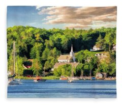 Door County Ephraim Harbor Sunset  Panorama Fleece Blanket