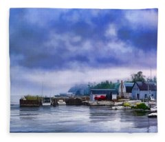 Door County Gills Rock Morning Catch Panorama Fleece Blanket