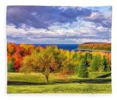 Door County Grand View Scenic Overlook Panorama Fleece Blanket
