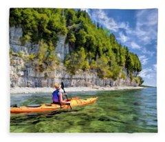 Door County Kayaking Around Rock Island State Park Fleece Blanket