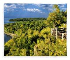 Door County Peninsula State Park Svens Bluff Overlook Fleece Blanket