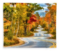 Door County Road To Northport In Autumn Fleece Blanket