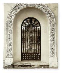 Door With Decorated Arch Fleece Blanket