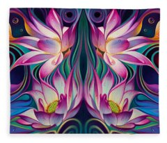 Double Floral Fantasy 2 Fleece Blanket