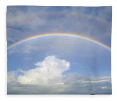 Double Rainbow At Sea Fleece Blanket