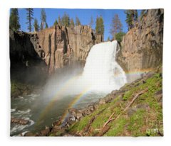 Double Rainbow Falls Fleece Blanket