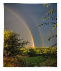Double Rainbow Over County Clare Fleece Blanket