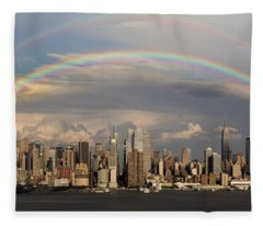 Double Rainbow Over Nyc Fleece Blanket