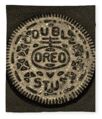 Double Stuff Oreo In Sepia Negitive Fleece Blanket
