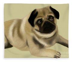 Doug The Pug Fleece Blanket