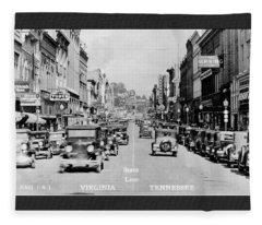 Downtown Bristol Va Tn 1931 Fleece Blanket