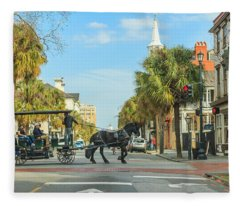 Downtown Charleston Stroll Fleece Blanket
