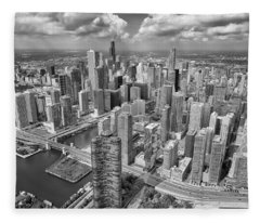 Downtown Chicago Aerial Black And White Fleece Blanket