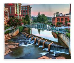 Downtown Greenville On The River Fleece Blanket
