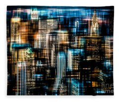 Downtown II - Dark Fleece Blanket