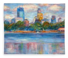 Downtown Minneapolis Skyline From Lake Calhoun II - Or Commission Your City Painting Fleece Blanket