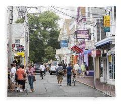 Downtown Scene In Provincetown On Cape Cod In Massachusetts Fleece Blanket