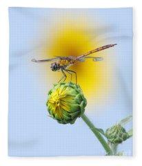 Dragonfly In Sunflowers Fleece Blanket