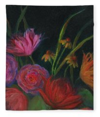 Dramatic Floral Still Life Painting Fleece Blanket