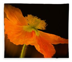 Dramatic Orange Poppy Fleece Blanket