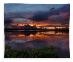 Fleece Blanket featuring the photograph Dramatic Sunset At The Lake by Todd Aaron