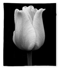 Dramatic Tulip Flower Black And White Fleece Blanket