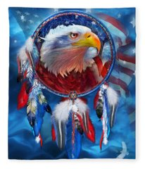 Dream Catcher - Eagle Red White Blue Fleece Blanket