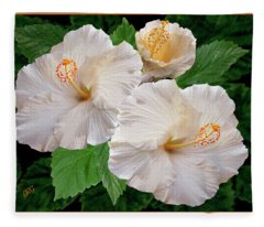 Dreamy Blooms - White Hibiscus Fleece Blanket