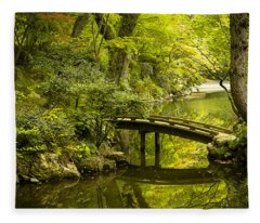 Dreamy Japanese Garden Fleece Blanket