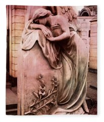 Dreamy Surreal Beautiful Angel Art Photograph - Angel Mourning Weeping At Gravestone  Fleece Blanket