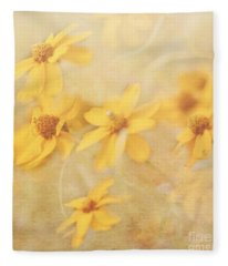 Dreamy Yellow Coreopsis Fleece Blanket