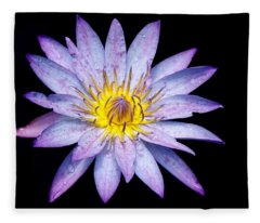 Droplets On A Water Lily. Fleece Blanket