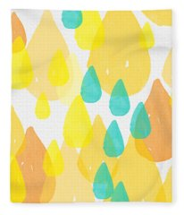 Drops Of Sunshine- Abstract Painting Fleece Blanket