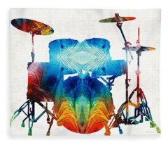 Drum Set Art - Color Fusion Drums - By Sharon Cummings Fleece Blanket