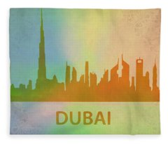 Dubai Skyline Mixed Media Fleece Blankets