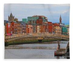 Dublin On The River Liffey Fleece Blanket