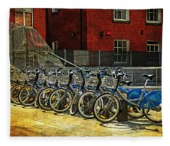 Dublin Streets. Bikes In A Row. Painting Collection Fleece Blanket