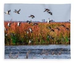 Duck Blind Fleece Blanket