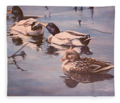 Ducks On The Cachuma Fleece Blanket