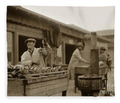 Dungeness Crabs At Fisherman's Wharf At San Francisco California. Circa 1935 Fleece Blanket