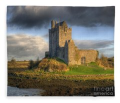 Dunguaire Castle With Dramatic Sky Kinvara Galway Ireland Fleece Blanket