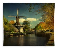 Dutch Windmill Fleece Blanket