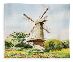 Dutch Windmill In San Francisco  Fleece Blanket