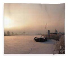 Dutch Winter Sunrise With A Boat Fleece Blanket