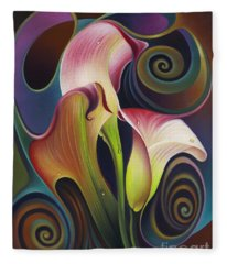 Dynamic Floral 4 Cala Lillies Fleece Blanket