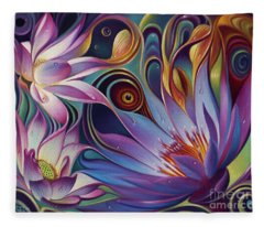 Dynamic Floral Fantasy Fleece Blanket