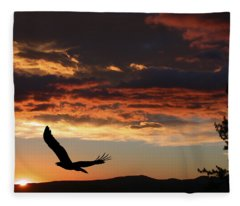 Eagle At Sunset Fleece Blanket