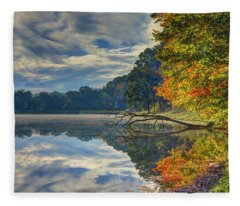 Early Autumn At Caldwell Lake Fleece Blanket
